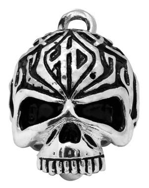 Harley-Davidson Sculpted Tribal Skull Ride Bell, Shiny Silver Finish HRB092 - Wisconsin Harley-Davidson
