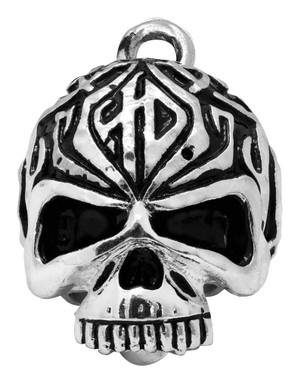Harley-Davidson Sculpted Tribal Skull Ride Bell, Shiny Silver Finish HRB092 - Wisconsin Harley-Davidson