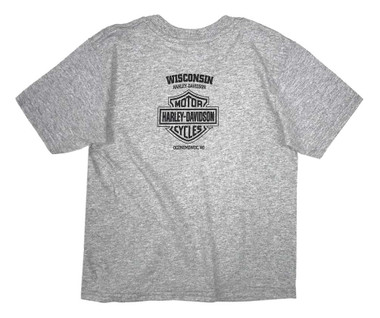 Harley-Davidson Little Boys' Attitude Eagle Short Sleeve Toddler T-Shirt, Gray - Wisconsin Harley-Davidson