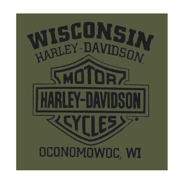 Harley-Davidson Men's Vintage Shadow Bike Short Sleeve T-Shirt, Military Green - Wisconsin Harley-Davidson