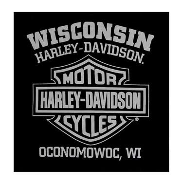 Harley-Davidson Men's Vapor Chest Pocket Long Sleeve Crew Neck Shirt, Black - Wisconsin Harley-Davidson