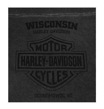 Harley-Davidson Men's Meridian Distressed Premium Long Sleeve Shirt, Carbon Wash - Wisconsin Harley-Davidson