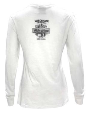 Harley-Davidson Women's Free Spirit Long Sleeve Notched V-Neck Shirt, White - Wisconsin Harley-Davidson