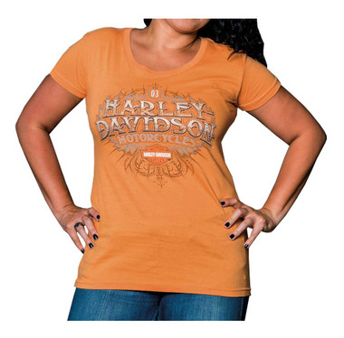 Harley-Davidson Women's Summer Crest Short Sleeve Round Neck Tee, Orange - Wisconsin Harley-Davidson