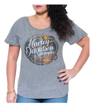 Harley-Davidson Women's Wood Lines Dolman Short Sleeve Tee, Premium Heather Gray - Wisconsin Harley-Davidson