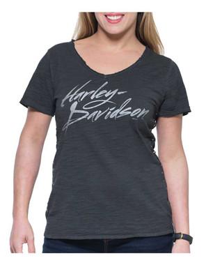 Harley-Davidson Women's Street High-Low Hem Short Sleeve V-Neck Tee, Gray - Wisconsin Harley-Davidson