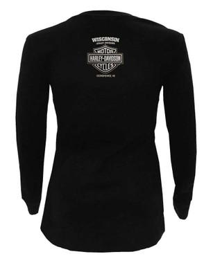 Gray//Navy Harley-Davidson Women/'s Colorblocked Squadron 3//4 Sleeve Raglan Tee