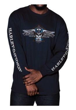 Harley-Davidson Men's Aviator Skull Long Sleeve Crew Neck Shirt, Navy Blue - Wisconsin Harley-Davidson