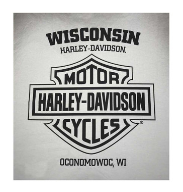 Harley-Davidson Men's Allover Obsession Premium Short Sleeve Tee, White Smoke - Wisconsin Harley-Davidson
