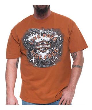 Harley-Davidson Men's Electric Bar & Shield Short Sleeve T-Shirt, Texas Orange - Wisconsin Harley-Davidson
