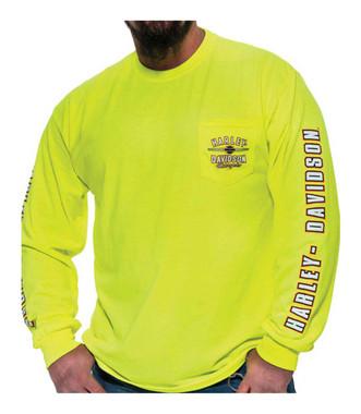 Harley-Davidson Men's Alliance Chest Pocket Long Sleeve T-Shirt, Safety Green - Wisconsin Harley-Davidson
