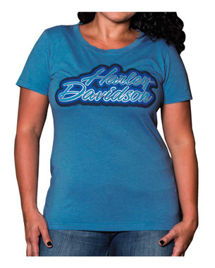 Harley-Davidson Women's Outlined Foiled Round Neck Short Sleeve Tee, Blue - Wisconsin Harley-Davidson