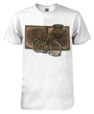 Harley-Davidson Men's 115th Anniversary Vintage Film Short Sleeve T-Shirt, White - Wisconsin Harley-Davidson