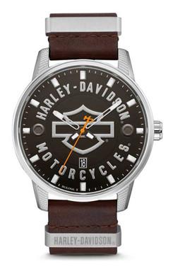 Harley-Davidson Men's Bar & Shield Brown Leather Stainless Steel Watch 76B178 - Wisconsin Harley-Davidson