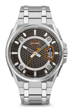 Harley-Davidson Men's Bar & Shield Dimensional Stainless Steel Watch 76B180 - Wisconsin Harley-Davidson