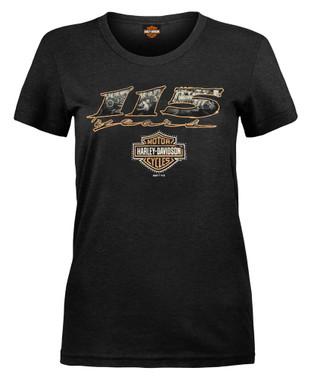 Harley-Davidson Women's 115th Anniversary Glam Years Short Sleeve Tee, Black - Wisconsin Harley-Davidson