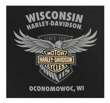 Harley-Davidson Men's 115th Anniversary Shield Chest Pocket Short Sleeve T-Shirt - Wisconsin Harley-Davidson