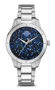 Harley-Davidson Women's Blue Crystal Rock Sparkles Stainless Steel Watch 76L188 - Wisconsin Harley-Davidson