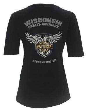 Harley-Davidson Women's 115th Anniversary Glittery Name 1/2 Sleeve Tee, Black - Wisconsin Harley-Davidson