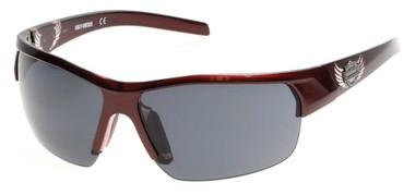 Harley-Davidson Women's Winged B&S Sunglasses, Shiny Burgundy Frame & Smoke Lens - Wisconsin Harley-Davidson