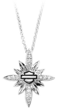 Harley-Davidson Women's Starburst Encrusted Bling Necklace, Silver HDN0384-18 - Wisconsin Harley-Davidson