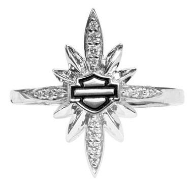 Harley-Davidson Women's Starburst Encrusted Bling Ring, Silver Finish HDR0457 - Wisconsin Harley-Davidson