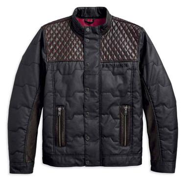 Harley-Davidson Men's Quilted Red Leather Accent Jacket, Black 97441-18VM - Wisconsin Harley-Davidson