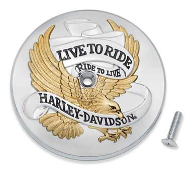 Harley-Davidson Live To Ride Center Bolt Air Cleaner Trim, Gold/Chrome 61400455 - Wisconsin Harley-Davidson
