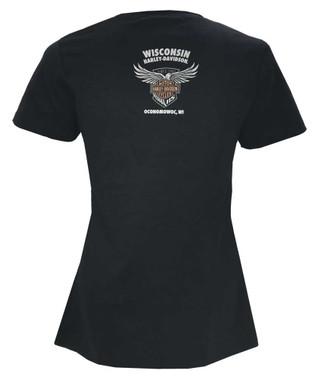 Harley-Davidson Women's 115th Anniversary Velocity Raw-Edge Short Sleeve Tee - Wisconsin Harley-Davidson