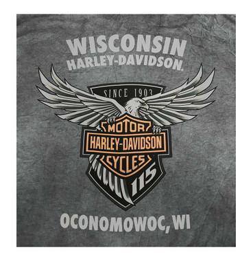 Harley-Davidson Men's 115th Anniversary Landing Long Sleeve Shirt, Blue Wash - Wisconsin Harley-Davidson