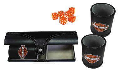 Harley-Davidson Double Carrying Leatherette Dice Cups & 6 H-D Dice, Black 655D - Wisconsin Harley-Davidson
