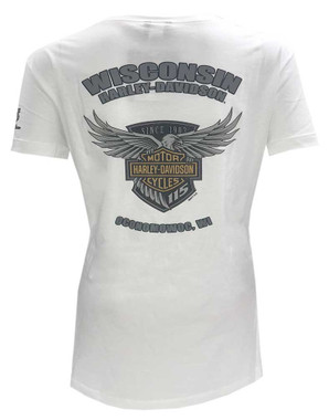 Harley-Davidson Women's 115th Anniversary Eagle Badge Short Sleeve Tee, White - Wisconsin Harley-Davidson