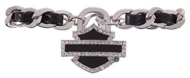 Harley-Davidson Women's Charmed Crystal Bar & Shield Cuff HDWCU11396-BLK - Wisconsin Harley-Davidson