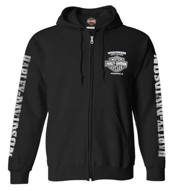 Harley-Davidson Men's Lightning Crest Full-Zippered Hooded Sweatshirt, Black - Wisconsin Harley-Davidson