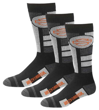 Harley-Davidson Men's Ultra Cushion Wool Riding Socks, 3 Pairs - Black - Wisconsin Harley-Davidson