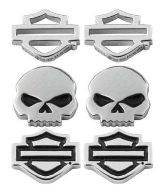 Harley-Davidson Women's Bar & Shield/Skull Stud Earrings Set - 3 Styles HDS0005 - Wisconsin Harley-Davidson