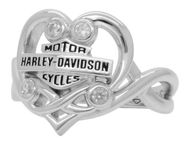 Harley-Davidson Women's Vintage Bling Filigree Heart Ring, Silver Finish HDR0433 - Wisconsin Harley-Davidson