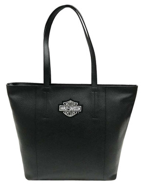 Harley-Davidson Women's Bar & Shield Travel Leather Tote Bag, Black 99516-BLACK - Wisconsin Harley-Davidson