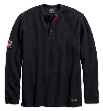 Harley-Davidson Men's #1 Genuine Classics Long Sleeve Henley, Black 99021-18VM - Wisconsin Harley-Davidson