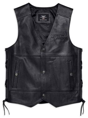 Harley-Davidson Men's Tradition II Midweight Leather Vest, Black 98024-18VM - Wisconsin Harley-Davidson