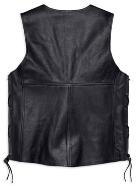 Harley-Davidson Men's Tradition II Midweight Leather Vest, Black 98024-18VM - Wisconsin Harley-Davidson