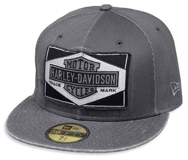 Harley-Davidson Men's Raw Edge Patch 59FIFTY Baseball Cap, Gray 99437-18VM - Wisconsin Harley-Davidson