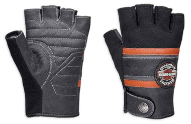 Harley-Davidson Men's Mixed Media Fingerless Gloves w/ Coolcore Tech 98216-18VM - Wisconsin Harley-Davidson