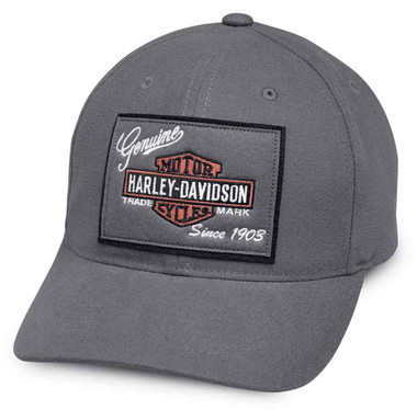 Harley-Davidson Men's Genuine Logo Patch Baseball Cap, Gray 99435-18VM - Wisconsin Harley-Davidson