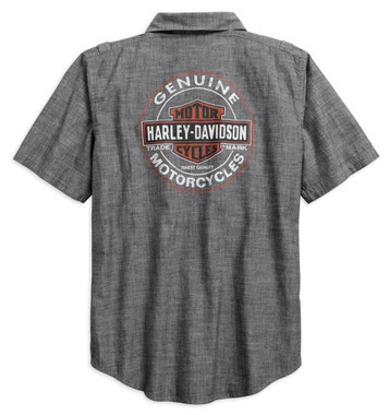 Harley-Davidson Men's Genuine Oil Can Short Sleeve Woven Shirt 99068-18VM - Wisconsin Harley-Davidson