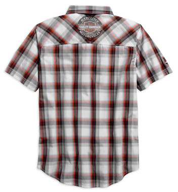 Harley-Davidson Men's Genuine Oil Can Short Sleeve Plaid Woven Shirt 99067-18VM - Wisconsin Harley-Davidson