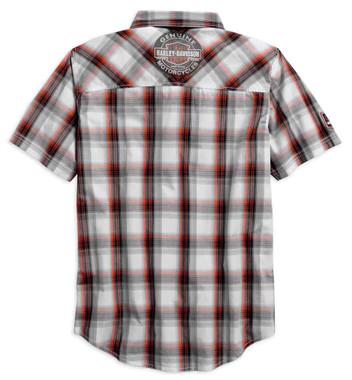 Harley-Davidson Men's Genuine Oil Can Short Sleeve Plaid Woven Shirt 99067-18VM - Wisconsin Harley-Davidson