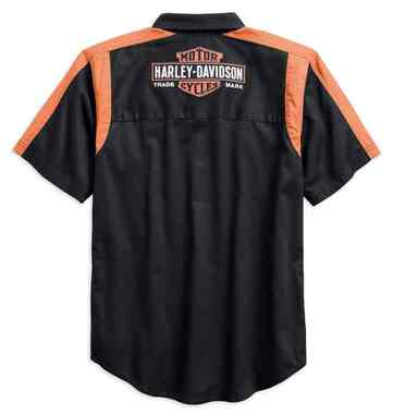 Harley-Davidson Men's Genuine Oil Can Colorblocked Woven Shirt 99066-18VM - Wisconsin Harley-Davidson
