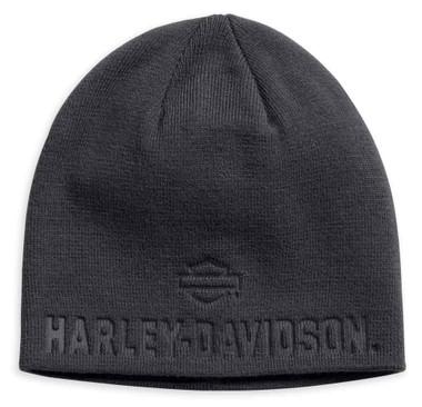 Harley-Davidson Men's Debossed H-D Knit Beanie Hat, Asphalt 99430-18VM - Wisconsin Harley-Davidson