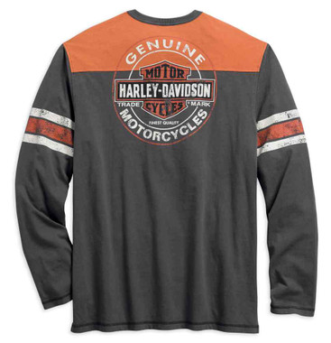 Harley-Davidson Men's Genuine Oil Can Long Sleeve Henley, Asphalt 99064-18VM - Wisconsin Harley-Davidson